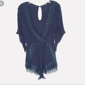Navy blue crocheted romper